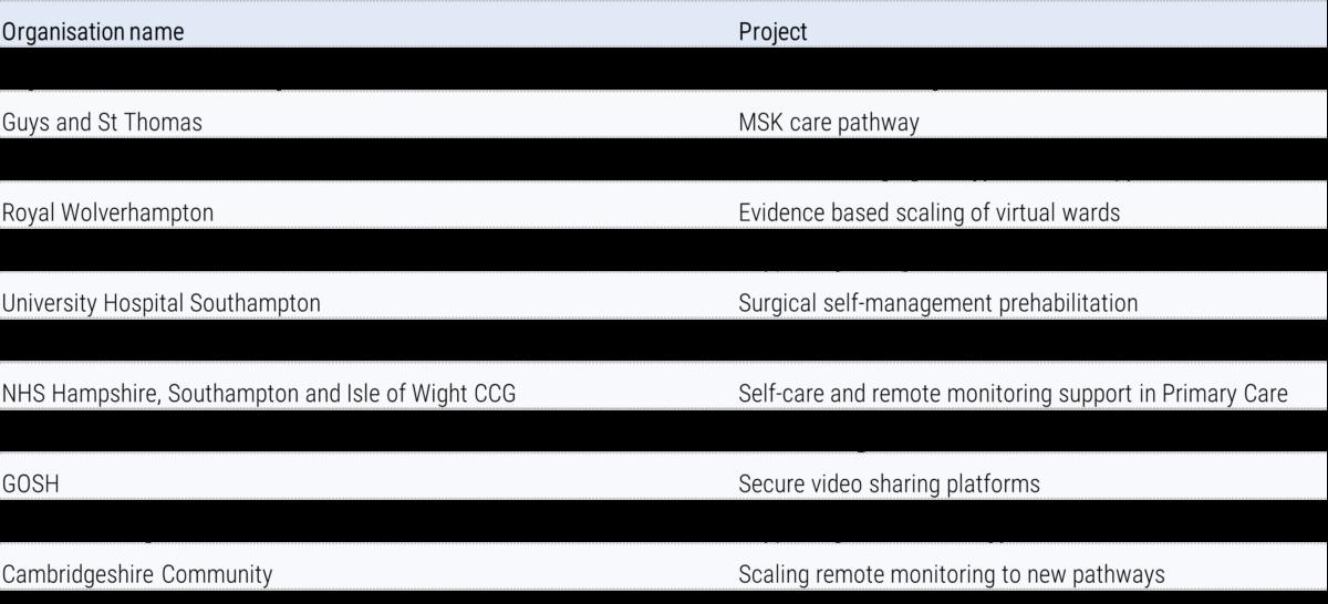 Table showing phase 1 Digital Health Partnership award winners